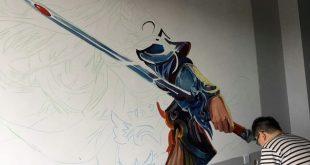 二次元美图绘画插图之王者荣耀墙绘插图